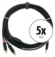 5er Set Pronomic Stage J3RC-6m Audiokabel 3,5mm Stereo-Klinke/Cinch 6m schwarz