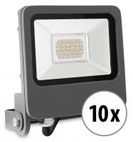 10x Showlite FL-4020 NW LED Fluter IP65 20 Watt 1600 Lumen neutral-weiß Set