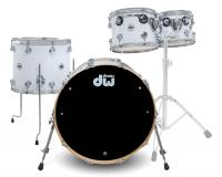 DW Collector's Series SSC Drumkit in White Glass Finish mit Chrom Hardware