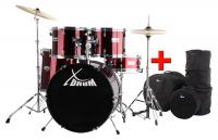 """XDrum Semi 20"""" Studio Schlagzeug Lipstick Red Set inkl. Taschen"""