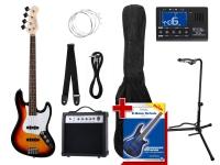 Rocktile Paquet JB Basse Électrique Set III Sunburst + Accordeur à Clipser + Stands de Guitare
