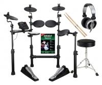 Carlsbro CSD101 E-Drum Kit Komplettset mit Kopfhörer, Hocker, Schule und Sticks