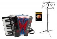 Classic Cantabile Bambino Kinder-Akkordeon Set, schwarz, 8 Bässe