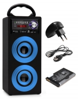 Beatfoxx Beachside portable Bluetooth Speaker USB, SD, AUX, FM, Blue SET incl. battery + power cord