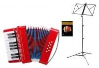 Classic Cantabile Bambino Kinder-Akkordeon Set, Rot, 8 Bässe