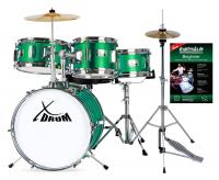 XDrum Junior Kinderschlagzeug Emerald Green Sparkle Set inkl. Schule + HiHat