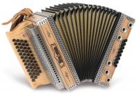 Strasser 4/III Hoamat Harmonika F-B-Es-As, mit X-Bass, Erle
