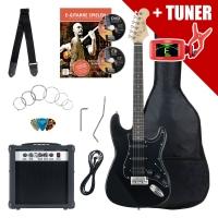 Rocktile ST Pack guitare électrique noire en set incl ampli, housse, accordeur, câble, sangle