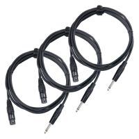 Pronomic Stage XFJ-2.5 Mikrofonkabel XLR/Klinke 2,5 m Schwarz 3er Set