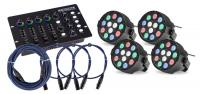 4x Showlite SPS-121 LED smart party spot in een set met DMX controller en kabel