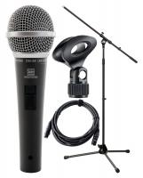 Pronomic Vocal Microphone DM-58 avec Interrupteur Starter set avec stand avec pince + câble