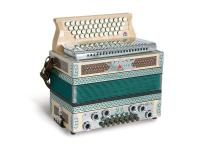 Strasser 4/III Professional Harmonika 4-reihig, 3-chörig G-C-F-B mit X-Bass, Ahorn/Grün