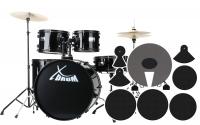 XDrum Rookie 22 Fusion Batteria Black e set sordine