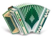 Strasser 4/III De Luxe E Harmonika 4-reihig, 3-chörig B-Es-As-Des, mit X-Bass Ahorn/Grün