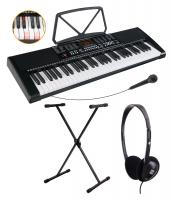 McGrey LK-6120-MIC Leuchttasten-Keyboard mit Mikrofon Set inkl. Ständer und Kopfhörer schwarz