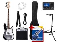Rocktile Groover Paquet PB Basse Électrique Set II Noir + Rockt. Accordeur + CC Stands