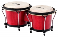 XDrum Bongo Club standard 17cm (6 3/4 inches) Macho and 20cm (8 inches) Hembra wooden percussion wine red wooden bongo drum skins natural