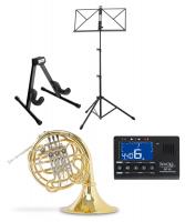 Classic Cantabile Brass WH-801L F/Bb Wald-/Doppelhorn Set inkl. Koffer, Mundstück, Notenständer, Metronom, Hornständer