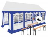Stagecaptain Bavaria partytent pavillon 4x8m set incl. 6 sets van tafel en banken