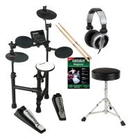 Carlsbro CLUB100 E-Drum Kit Komplettset mit Kopfhörer, Hocker, Schule und Sticks