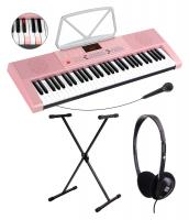 McGrey LK-6120-MIC Illuminated Key Keyboard with Microphone Set incl. Stand and Headphones in Pink