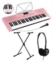 McGrey LK-6120-MIC Set de teclado luminoso con micrófono con soporte y auriculares en rosa