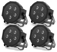 4 x Showlite FLP-5x10W Flat Panel Scheinwerfer Set