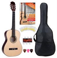 Classic Cantabile Acoustic Series AS-851-L Chitarra classica 3/4 per mancini Starter-SET