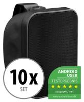 10er Set Pronomic OLS-5 BK Outdoor-Lautsprecher schwarz 10x 80 Watt