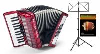 Weltmeister Perle 48 Bass Akkordeon 2-chörig (Rot) SET inkl. Notenständer und Schule