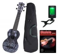 Classic Cantabile BeachBuddy ukulele Black Beauty, set incl. sintonizador y curso