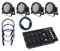 Showlite FLP-144 Scheinwerfer 4 x Set inkl. DMX Controller & Kabel