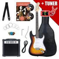 Rocktile ST Pack Guitare électrique set sunburst y compris amplificateur, sac, accordeur, câble