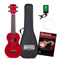Mahalo U-Smile Serie Sopran-Ukulele Rot Set