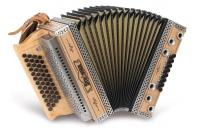 Strasser 4/III Hoamat Harmonika G-C-F-B, mit X-Bass, Erle