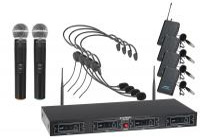 McGrey UHF-2V4H Quad Funkmikrofon Set mit 2x Handmikrofon, 4 Headsets und Taschensender