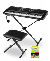 Funkey Super Kit 61 Keys in Black with Stand, Bench, Headphones and Music
