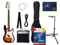 Rocktile Paquet PB Basse Électrique Set III Sunburst + Accordeur à Clipser + Stands de Guitare