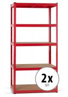 2x Set Stagecaptain HR-175 RD Heavyrack estantería de madera Rojo
