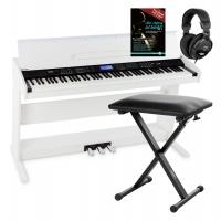 FunKey DP-88 II Digitalpiano weiß Set mit Economy Keyboardbank, Kopfhörer und Klavierschule