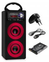 Beatfoxx Beachside portable Bluetooth Speaker USB, SD, AUX, FM/AM Red SET incl. battery + power cord