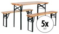 5x Stagecaptain Hirschgarten beer table and bench set ideal for balcony 117 cm