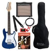 Rocktile Sphere Junior Guitare Eléctrique 3/4 Bleu SET avec ampli, cable et sangle