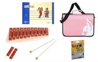 Sonor Früherziehungsset mit Tina und Tobi-Heft, NG 10 Glockenspiel, rosa Notentasche und Stifte