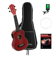 DIMAVERY UK-100 Sopran-Ukulele, flamed red Set