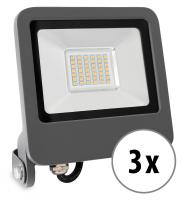 3x Showlite FL-4030 WW LED Fluter IP65 30 Watt 2400 Lumen warm-weiß Set