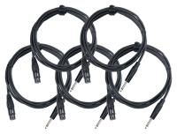 Pronomic Stage XFJ-2.5 Mikrofonkabel XLR/Klinke 2,5 m Schwarz 5er Set