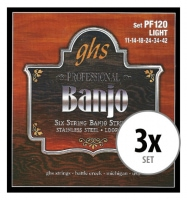 GHS PF120 Banjo Saiten Light für 6-String Banjo 3x Set