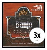 GHS PF120 Banjo Saiten Light für 6-String Banjo 3x Set