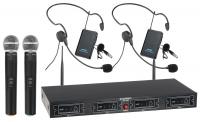 McGrey UHF-2V2H Quad Funkmikrofon Set mit 2x Handmikrofon, 2 Headsets und Taschensender